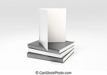 boekjes , op, boeken menigte, leeg, pagina's, spotten