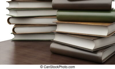 boekjes , op de tafel, in, bibliotheek