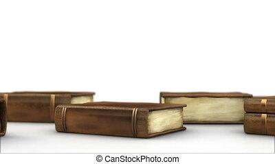 boekjes , op de tafel, vrijstaand, op, whit
