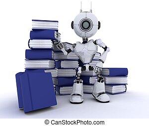 boekjes , robot, stapel
