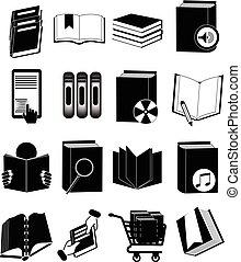 boekjes , set, bibliotheek, iconen