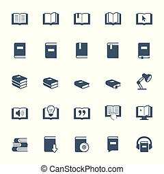 boekjes , set, lezende , leren, pictogram