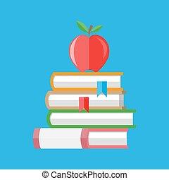 boekjes , stapel, appel, rood