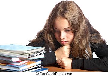 boekjes , stapel, blik, girl-teenager