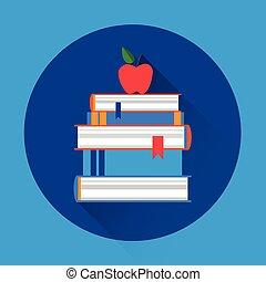 boekjes , stapel, kleurrijke, pictogram