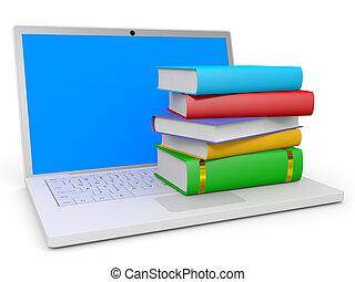 boekjes , stapel, laptop.