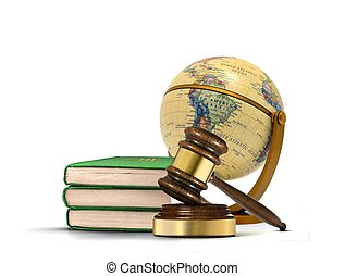 boekjes , van, wet, met, gavel, en, globe