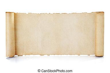 boekrol, perkament, vrijstaand, witte