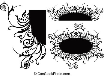 boekrol, vector, cartouche, illustratie, decor