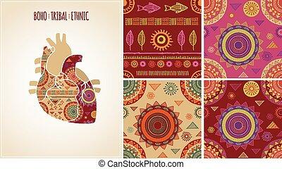 boemo, tribale, etnico, fondo, con, cuore, icona, e, modelli
