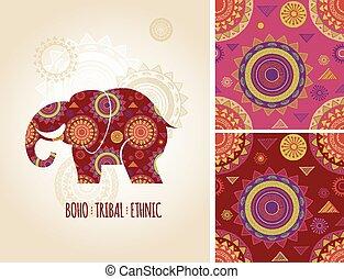 boemo, tribale, etnico, fondo, con, elefante, icona, e, modelli