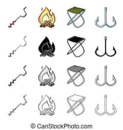 Boer fisherman, fire, fishing chair, double hook. Fishing set collection icons in cartoon black monochrome outline style vector symbol stock illustration web.