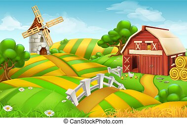 boer veld, landscape, 3d, vector, achtergrond