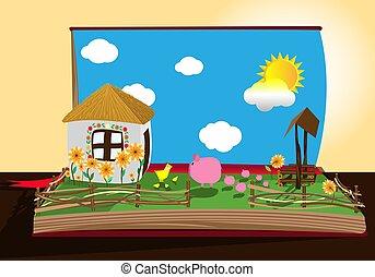boerderij, beeld, boek, open