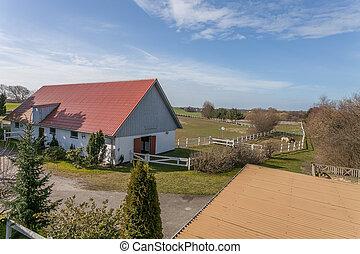 boerderij, deens, woning, paddock