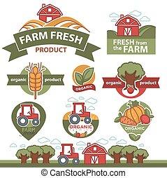 boerderij, etiketten, markt, products.
