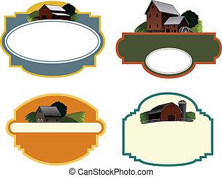 boerderij, etiketten, scène