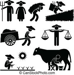 boerderij, farmer, arbeider, landbouw