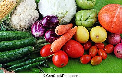 boerderij, groentes, organisch, display, kleurrijke