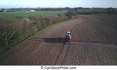 boerderij, het verstuiven, glyphosate, herbicide, mechanisme