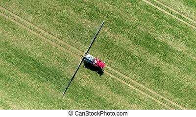 boerderij, het verstuiven, mechanisme, controversieel, glyphosate, herbicide