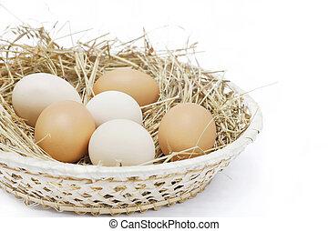 boerderij, hooi, eitjes, scuttle, fris