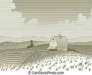 boerderij, houtsnee, schuur