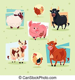 boerderij, huiselijk, teelt, dieren, pictogram