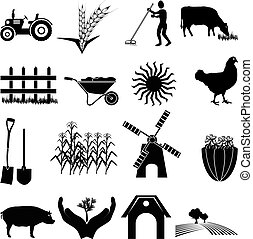 boerderij, iconen, set