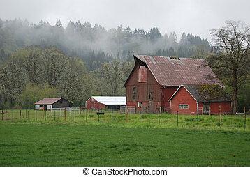 boerderij, in, de, mist