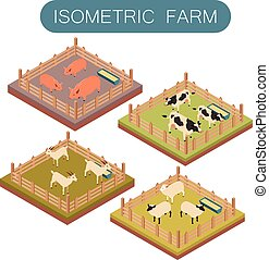 boerderij, isometric, set, dieren