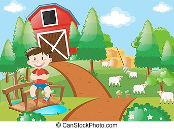 boerderij, jongen, het glimlachen