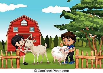 boerderij, jongen, meisje, dieren
