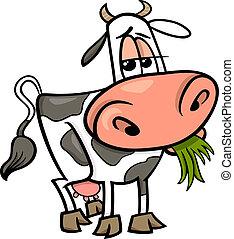 boerderij, koe, dier, illustratie, spotprent