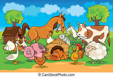 boerderij, landelijk, dieren, scène, spotprent