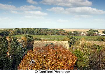 boerderij, landelijk, herfst landschap, seizoen