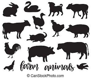 boerderij, livestock., set., vector, dieren