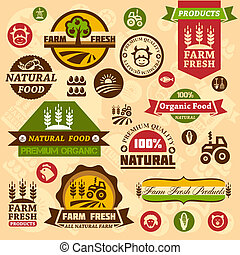 boerderij, logo, ontwerpen, etiketten