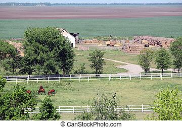 boerderij, met, paarden, luchtmening