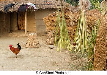 boerderij, nepal, hutten