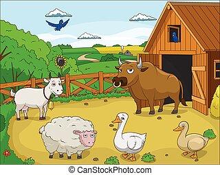 boerderij, onderwijs, spotprent, illustratie