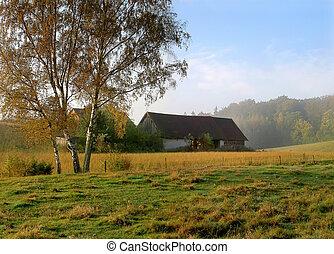 boerderij, oud, landscape