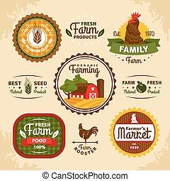 boerderij, ouderwetse , etiketten