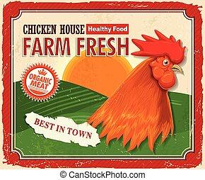 boerderij, ouderwetse , fris, ontwerp, poster