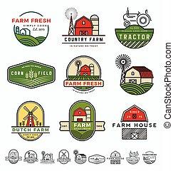 boerderij, ouderwetse , moderne, illustratie, vector, mal, logo, design.