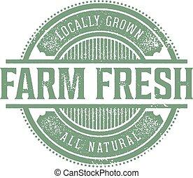 boerderij, ouderwetse , product, fris, etiket