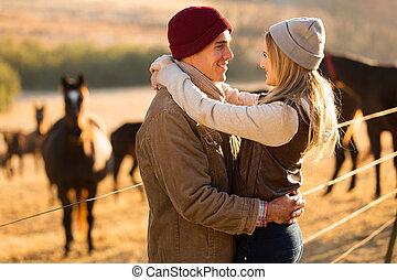 boerderij, paarde, paar, romantische, jonge