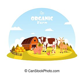 boerderij, paddock, dieren, vee