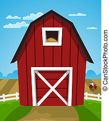 boerderij, rode schuur