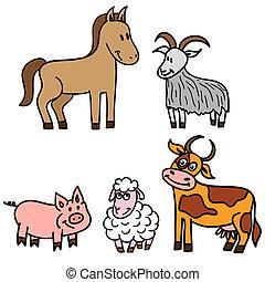 boerderij, schattig, set, dieren
